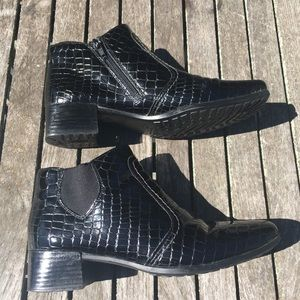 Rieker Patent Leather Weather Proof Ankle Boots